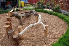 Montessori Ideas: Building an Outdoor Environment Awesome example of natural climbing materials from juxtapost.com.