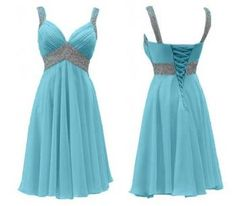 2015 trendy Lovely light blue rhinestone chiffon formal prom homecoming dress with straps