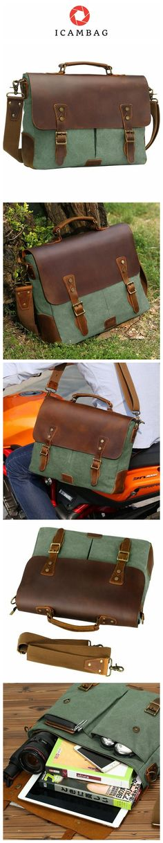 Leather Vintage Messenger Bag for 15.6 inch laptops,Satchel Briefcase Bag for Men and Women Green