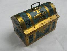 Messmer treasure chest: Old Walter MESSMER tin (coffee / tea) WITH KEY. Hamburg, Germany. 50s. Vintage $26.71
