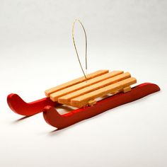 Red Wooden Sled Ornaments 4'' 3pcs