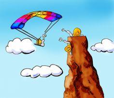 Sky diving and rock climbing