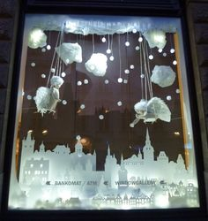 Just a picture of a white chirstmas window display | Another beautiful white Christmas display at a bank in Prague.