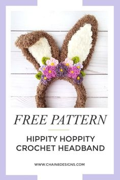 Hippy Hoppity Headband Hippity Hoppity Headband by Chain 8 Designs Bunny Crochet, Easter Crochet Patterns, Cute Crochet, Crochet For Kids, Crochet Toys, Crochet Flowers, Easter Bunny Ears, Bunnies, Bunny Ears Headband