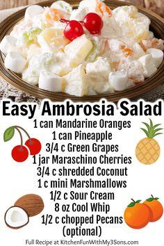 Creamy Fruit Salads, Dessert Salads, Fruit Salad Recipes, Fruit Fruit, Desserts For Potluck, Jello Recipes, Fruit Party, Dessert Dishes, Ambrosia Recipe