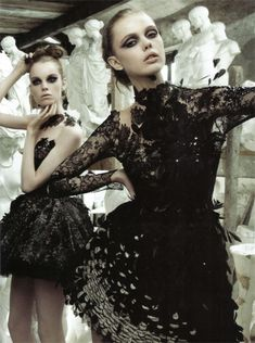 Valentino | A Chrysalis dress in bronze and black organza with encrusted lacquered lace