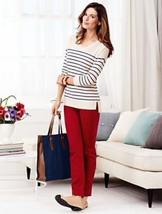 Talbots offers apparel in misses, petite, plus size and plus size petite. Business Casual Outfits, Preppy Outfits, Preppy Style, Boho Outfits, Fashion Outfits, Colored Skinny Jeans, Colored Denim, Colored Pants, Denim Outfit