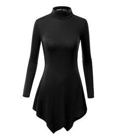 Loving this Black Mock Neck Tunic on #zulily! #zulilyfinds