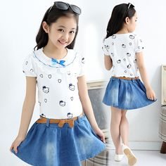 Cheap dress s, Buy Quality dress muslim directly from China dress fabric by the yard Suppliers:          Kids girls summer dress girl clothes children's spring surge Korean cotton leisure suit 3 4 5 6 7 8
