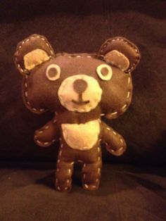 Felt teddy bear Cut two pieces of felt the same hand sew and stuff. Super easy