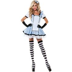 Adult Miss Wonderland Costume ($16) ❤ liked on Polyvore featuring costumes, outfits, halloween costumes, queen of hearts adult costume, adult costume, party costumes, alice costume and mad hatter halloween costume