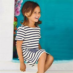 8b022265f66 Girl s Short Sleeve Blue Stripe Summer Dress Price  9.83   FREE Shipping   hashtag1