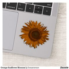 Shop Orange Sunflower Blossom Sticker created by loraseverson. Design Your Own Stickers, Custom Stickers, Your Design, Orange Sunflowers, Yellow Sunflower, Blossom Garden, Sunflower Gifts, Vinyl Sheets, Shape Of You