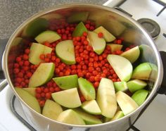 Rowan and Apple Jelly Recipe - Rowan berries and apples prepared for making jelly