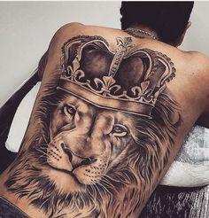Realistic Lion Back Tattoo Designs and Ideas Back Tats, Cool Back Tattoos, Back Tattoos For Guys, Trendy Tattoos, Lower Back Tattoos, Back Piece Tattoo Men, King Tattoos, Body Art Tattoos, Sleeve Tattoos