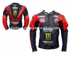 Mens Red Black Kawasaki Racing Team Motorcycle Leather Jacket with Back hump