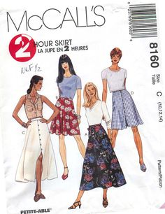 McCall's 8160 Sewing Pattern for 2 Hour Skirt in sizes 10, 12, 14 by CarlasHope on Etsy