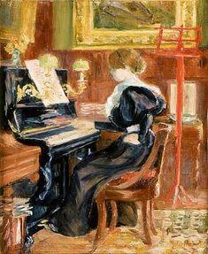 ♪ The Musical Arts ♪ music musician paintings - Berthe Morisot | Jeune fille (Julie Manet) au piano Huile sur toile