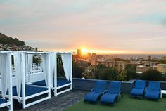 """""""I send visitors to the Cape Royale,"""" says resident Rashiq Fataar. """"The hotel has a sophisticated old-world feel. Guests have access to a rooftop pool that overlooks the city. Hotel Pool, Hotel Spa, Infinity Edge Pool, Outdoor Sofa, Outdoor Decor, Rooftop Pool, Plunge Pool, Cape Town, Best Hotels"""