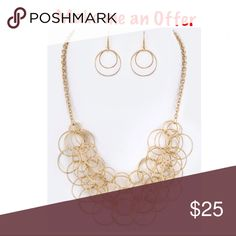 """New! Linked Hoops Layered Statement Necklace Set Necklace 18"""" plus Extension  Earrings 1.5"""" Drop New with tags Jewelry Necklaces"""
