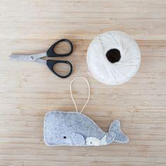Handmade Felt Whale Ornament Decorative Felt by ThreadAndFelt