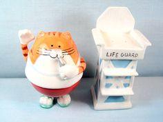 Fatty Cat Lifegaurd Ceramic Salt & Pepper Shakers