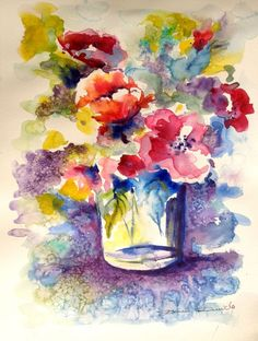 Aquarelle Originale Dam Domido  Bouquet de Fleurs rouges Flower Akoun watercolor
