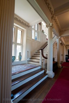 The main staircase at Blithewold, leading to bedrooms and servants' quarters above.