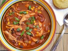 This chipotle chicken chili has smoky chipotle peppers, shredded chicken, and hearty beans for a meal that will fill you up and satisfy your taste buds.