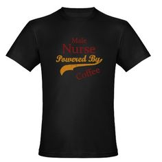Male Nurse Powered By Coffee Mens Fitted T-Shirt (dark)