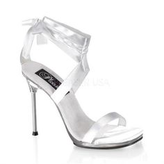 Womens White Dressy Shoes 4 Inch Stiletto Heel Satin Ankle Wrap Open Toe Size: 6 for sale Lace Up High Heels, White Heels, White Sandals, Womens High Heels, Sexy Sandals, Sexy Heels, Sandal Heels, Heeled Sandals, Women Sandals