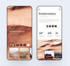 Fuerteventura Travel Guide by David Felipe V for Hiwow in App UI Mobile UI interface - Ios App Design, Mobile App Design, Mobile Ui, Logo Design, Interface Design, Interface App, Flat Design, Design Design, Ui Design Tutorial