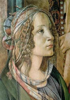 Detail of St. Catherine from the Altarpiece of San Barnaba - Sandro Botticelli (Italy, (Early Renaissance) Italian Renaissance Art, Renaissance Kunst, Renaissance Paintings, Michelangelo, Italian Painters, Italian Artist, Giorgio Vasari, Classical Art, Religious Art