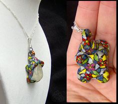 Stained glass inspired OOAK handmade crystal quartz elephant necklace.