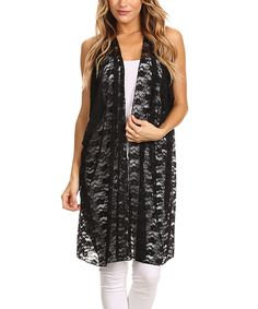 Scarlett Black Lace Tie-Front Sidetail Cardigan - Plus | Lace ...