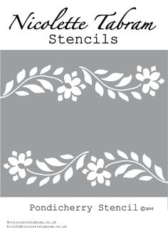Image of Pondicherry Border Stencil Stencils, Stencil Fabric, Stencil Templates, Stencil Painting, Stencil Designs, Paint Designs, Fabric Painting, Printable Stencil Patterns, Stenciled Table