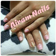Uñas acrilicas/Airam Nails/Palo de Rosa/Glitter/Dorado/Cristales