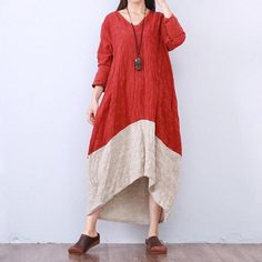 Women cotton linen loose fitting dress - Buykud
