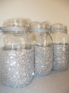 GLITTERED MASON JARS Wedding Decor Bridal Shower by OHONEFINEDAY, $22.50