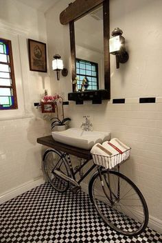 Looking at this charming bathroom with a creative twist, a bicycle sink. Would you ever use a bike and transform it into a bicycle sink in your bathroom? I think the black & white tile floor and b House Design, Interior, House Styles, House Interior, Home Deco, Bicycle Sink, Home Diy, Bathroom Design, Bathroom Decor
