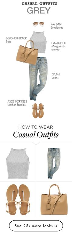 """CASUAL OUTFITS GREY"" by burcuciz on Polyvore featuring moda, ASOS, Ray-Ban y Prada"