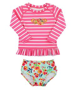 ed4b8990da3 Amazon.com  RuffleButts Infant   Toddler Girls Floral   Striped Long Sleeve  Ruffled Rash Guard Set - Painted Flowers - 3-6m  Clothing