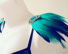 Turquoise and black feather embellished epaulettes, feather epaulettes, embellished shoulder pieces, clip on epaulettes, party clothing by feathersandthreaduk on Etsy