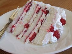 raspberry white cake (substitute for other berries) - whipped cream for frosting and between layers