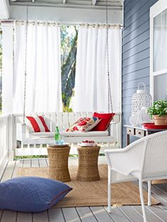 Home Interior Contemporary House Interior Design Ideas Porch Conservatory Design Small Living Space Solutions Inspiring Summer Porch Decorating Ideas 2015 Style Outdoor Curtains, Outdoor Rooms, Outdoor Living, Outdoor Furniture Sets, Outdoor Decor, Privacy Curtains, Front Porch Curtains, Porch Privacy, Porch Furniture