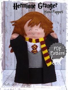 PDF Pattern Felt Hermione Granger Hand Puppet Instant by HelloFelt Glove Puppets, Felt Puppets, Puppets For Kids, Felt Finger Puppets, Cumpleaños Harry Potter, Harry Potter Artwork, Hermione Granger, Puppet Patterns, Sewing Patterns