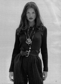 90s Kate Moss Brunette... loving the cinched in trousers