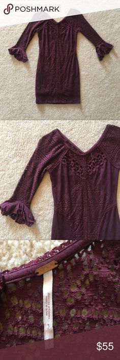 Free people Crochet 3/4 Sleeve Burgundy Dress Free people Crochet 3/4 Sleeve Burgundy Dress Size Small. Fully lined Free People Dresses Mini
