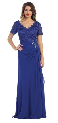 Short Sleeve Lace Chiffon Long Mother of the Bride Formal Dress - The Dress Outlet - 1