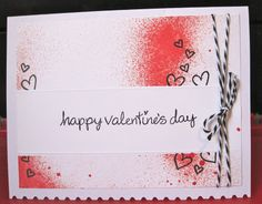 """Valentine's Day card made using Dylusions spray ink and Lawn Fawn's """"My Silly Valentine"""" set."""
